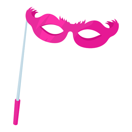 Pink theatrical mask icon in cartoon style on a white background