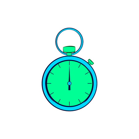 Pocket watch icon in cartoon style on a white background Stock Photo