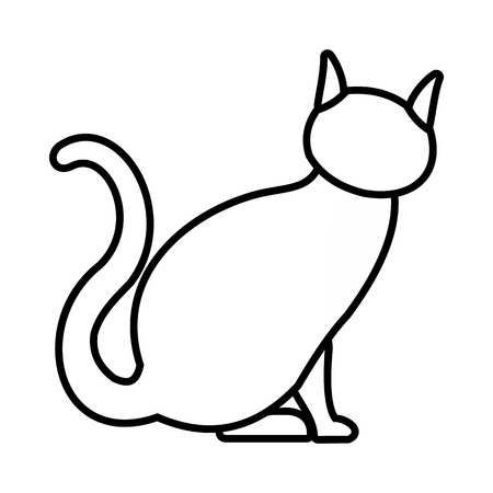Cat icon in outline style isolated on white background Stock Photo