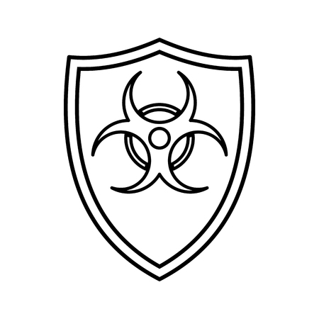 Shield with a biohazard sign icon in outline style isolated on white background