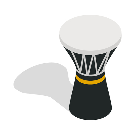 Darbuka, percussive musical instrument icon in isometric 3d style on a white background