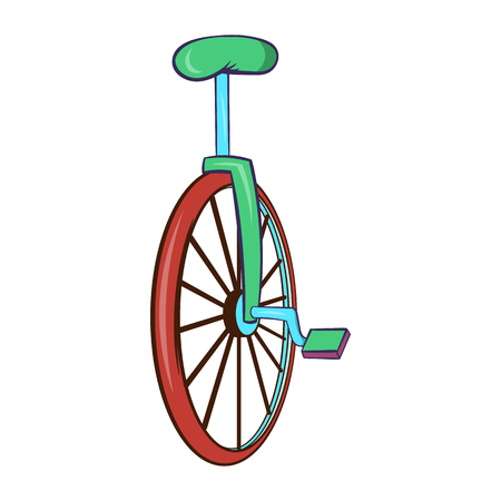 Unicycle or one wheel bicycle icon in cartoon style on a white background Stock Photo