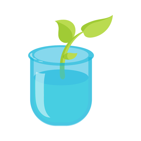 Green sprout in a glass with water icon in cartoon style on a white background