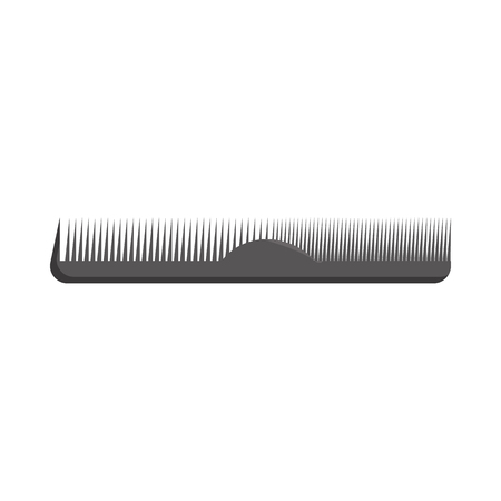 Black plastic comb icon in cartoon style on a white background