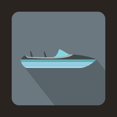Little powerboat icon in flat style with long shadow. Sea transport symbol 版權商用圖片