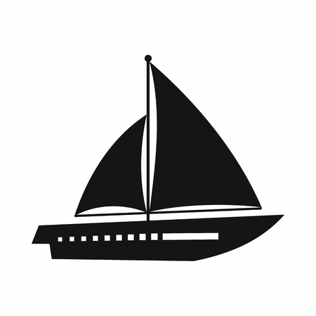 Sailing yacht icon in simple style isolated on white background. Sea transport symbol 版權商用圖片