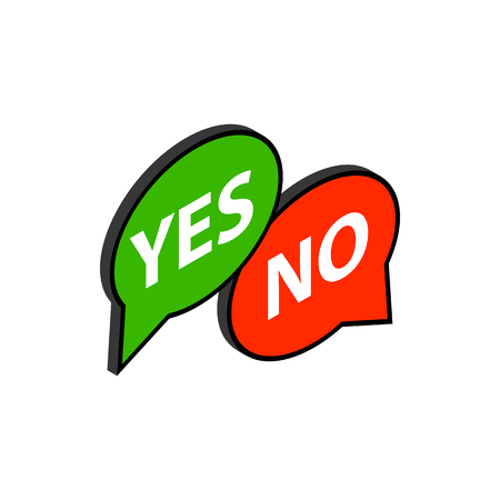 Speech bubble yes no icon, isometric 3d style