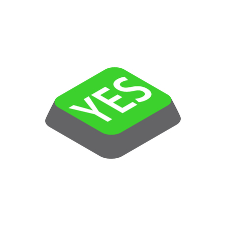 Click yes button icon, isometric 3d style Stock Photo