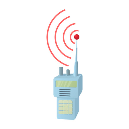 Portable handheld radio icon, cartoon style