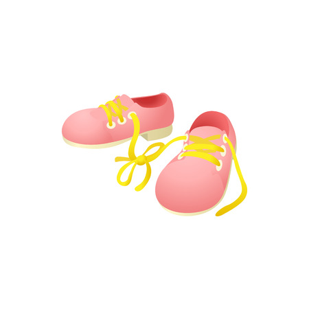 Pink shoes with laces tied together icon
