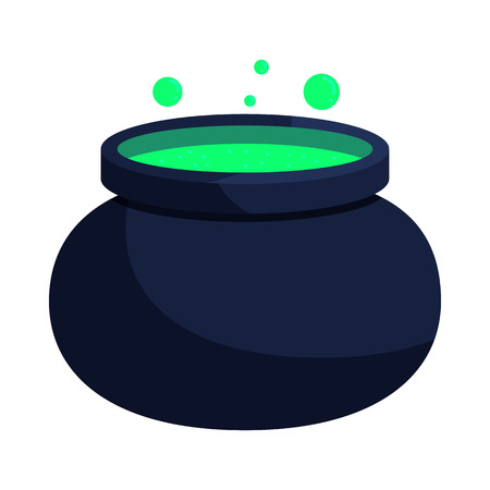Witch cauldron with green potion icon