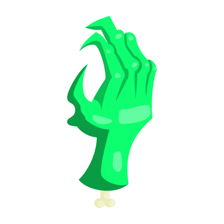 Zombie green monster hand icon, cartoon style
