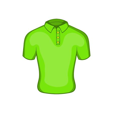 Mens green polo icon, cartoon style