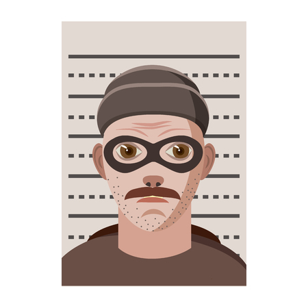 Man arrested photo in police icon, cartoon style