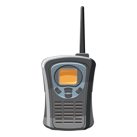Portable handheld radio icon, cartoon style