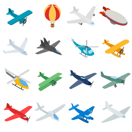 Aviation icons in isometric 3d style. Planes set isolated illustration
