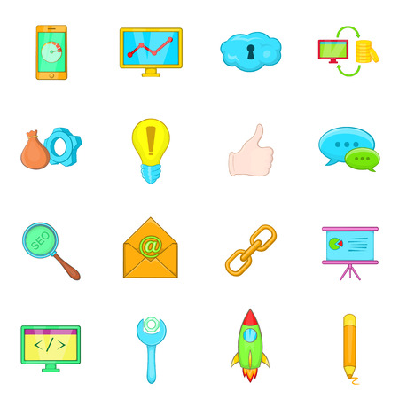 Seo icons in cartoon style. Marketing set collection isolated illustration Stock Photo