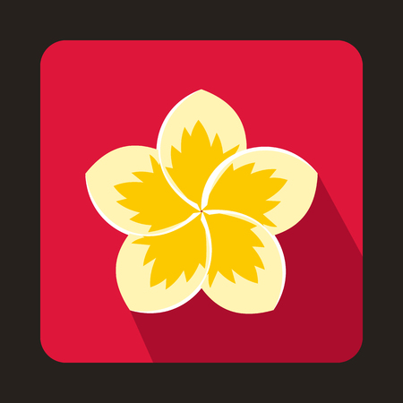 Frangipani flower icon in flat style on a pink background