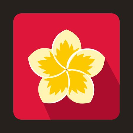 Icône de fleur de frangipanier dans un style plat sur fond rose Banque d'images