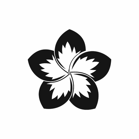 Frangipani flower icon in simple style isolated illustration
