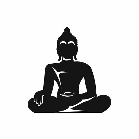 Statue of Buddha sitting in lotus pose icon in simple style isolated illustration