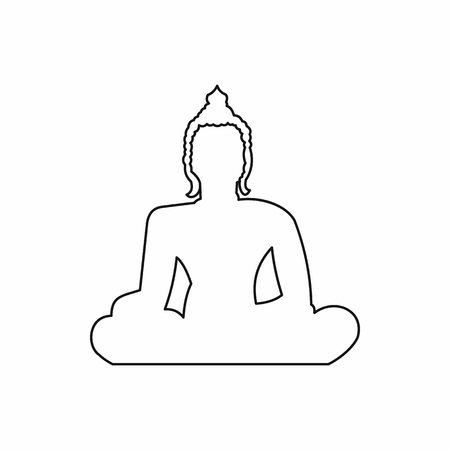 Statue of Buddha sitting in lotus pose icon in outline style isolated illustration