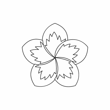 Frangipani flower icon in outline style isolated illustration