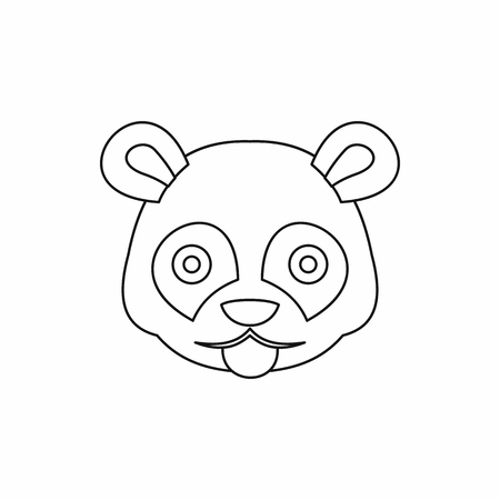 Head of panda icon in outline style isolated illustration