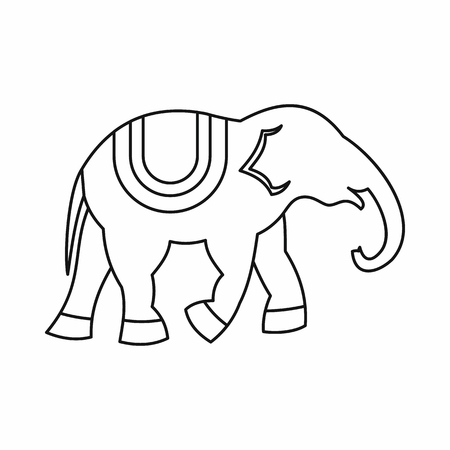 Elephant icon in outline style isolated illustration