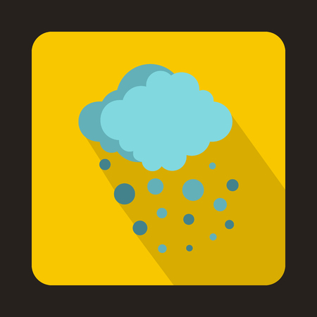 Cloud with hail icon in flat style on a yellow background 版權商用圖片