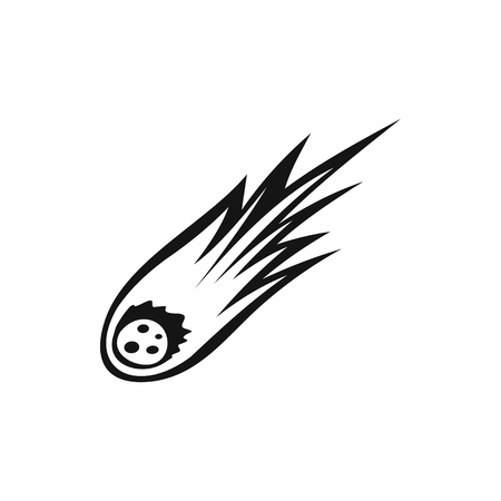 Falling meteor with long tail icon in simple style isolated illustration