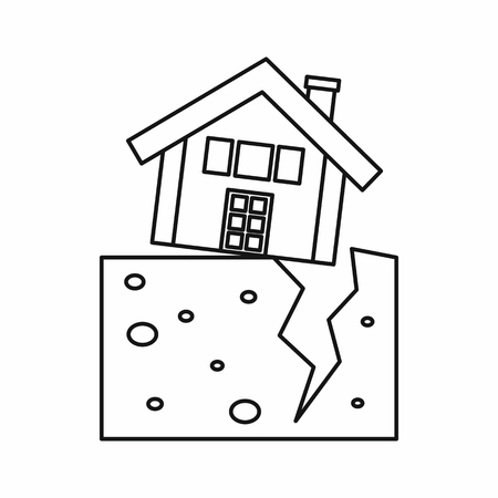 House after an earthquake icon in outline style isolated illustration