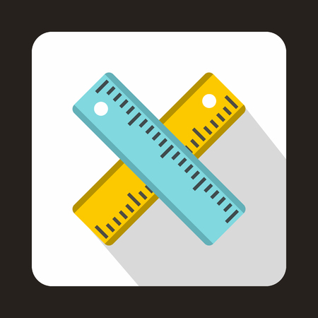 Two crossed rulers icon in flat style on a white background