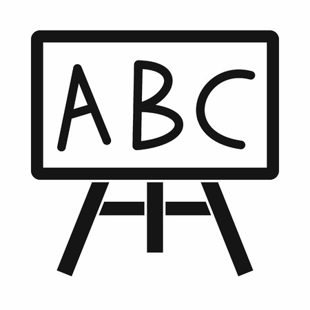 Chalkboard with the leters ABC icon in simple style isolated illustration Stockfoto