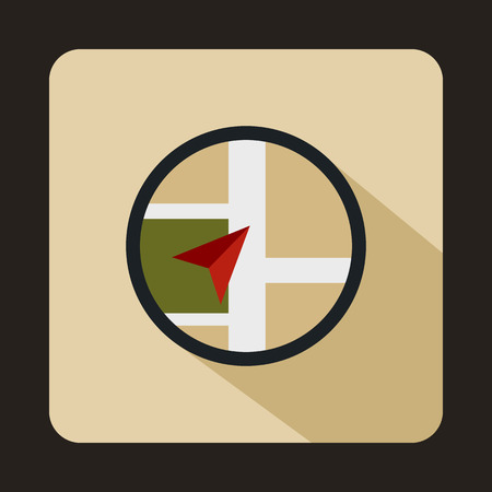 Map navigation icon in flat style on a beige background 免版税图像
