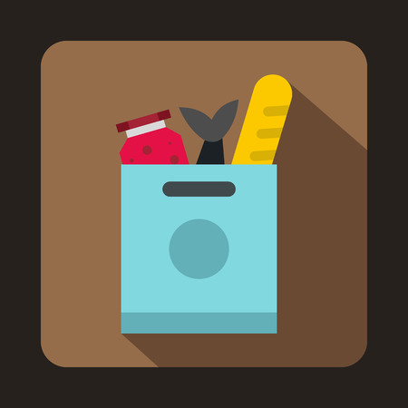 Grocery bag with food icon in flat style on a coffee background