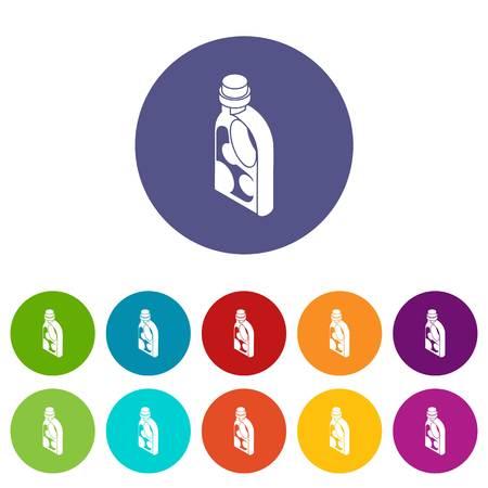 Waschen Conditioner Icons Farbsatz Vektor für jedes Webdesign auf weißem Hintergrund Vektorgrafik