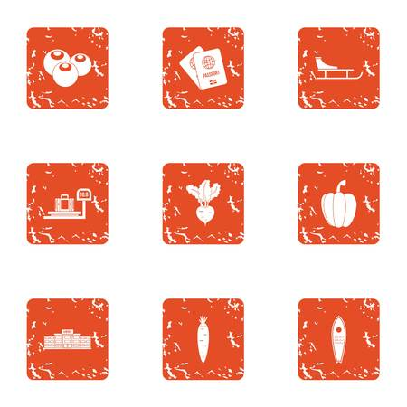 Smuggling icons set. Grunge set of 9 smuggling vector icons for web isolated on white background