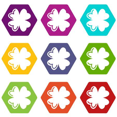 Quatrefoil leaf icons 9 set coloful isolated on white for web