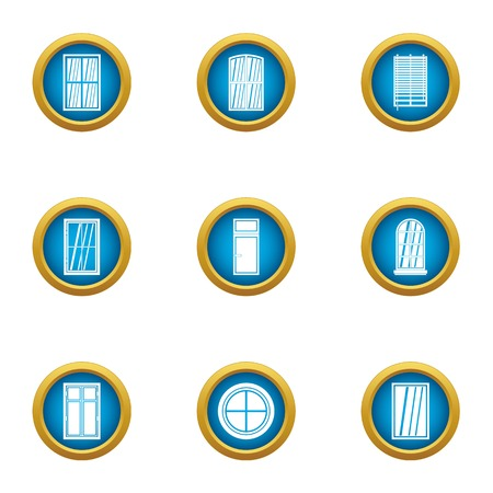 Shiny window icons set. Flat set of 9 shiny window vector icons for web isolated on white background