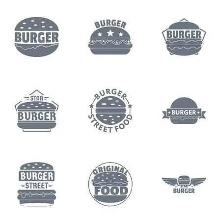 Street cheeseburger   set, simple style Ilustração