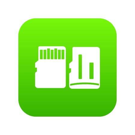Beide zijden van het SD-geheugenkaartpictogram digitaal groen Vector Illustratie