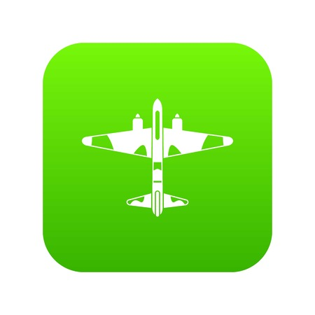 Military fighter aircraft icon digital green for any design isolated on white vector illustration Ilustração