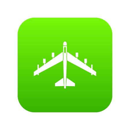 Armed fighter jet icon digital green for any design isolated on white vector illustration