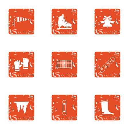 Winter bell icons set. Grunge set of 9 winter bell vector icons for web isolated on white background
