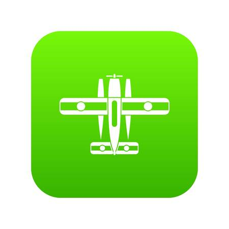 Ski equipped airplane icon digital green for any design isolated on white vector illustration Ilustração