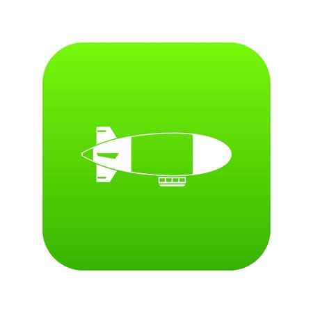 Aerostat airship icon digital green for any design isolated on white vector illustration Illustration