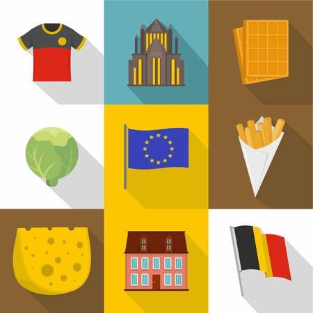 Teuton icons set. Flat set of 9 teuton vector icons for web isolated on white background Illustration