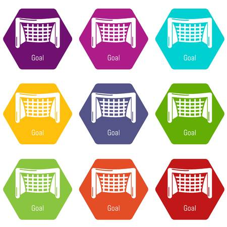 Goal soccer icons 9 set coloful isolated on white for web