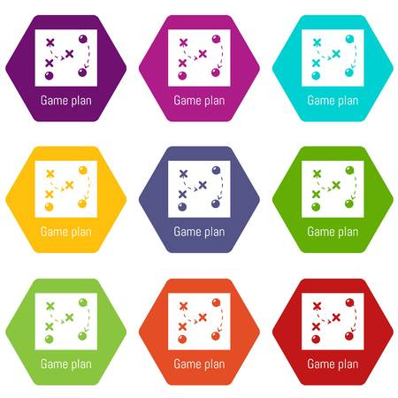 Game plan icons 9 set coloful isolated on white for web Ilustrace